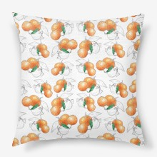 Watercolor seamless pattern background sketch of tangerine mandarine  with leaves
