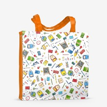 Watercolor hand drawn school doodle set illustration seamless pattern with lettering  school supplies  exercise book  microscope  globe   backpack  desk  textbooks  apple isolated on white2
