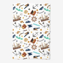 Watercolor hand drawn seamless pattern background illustration of pirate set with ship  map  anchor  flag  helm  chest  telescope  compass isolated on white4