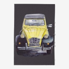 Yellow vintage car dark