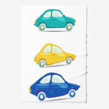Set of funny and different colored vector cars on white background.