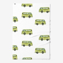 Seamless watercolor travel with green bus
