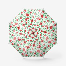 Red flowers and green leaves. floral print with watercolor flowers and plants