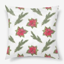 Poinsettia and fir branch pattern on white 5000