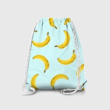 Pattern banana blue background
