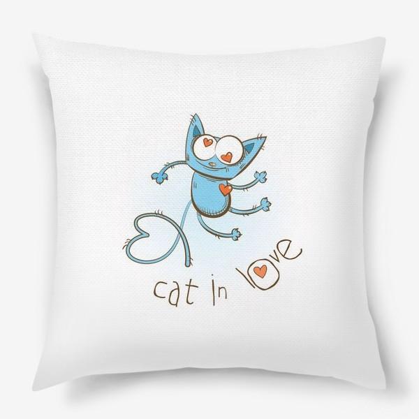 Подушка «Влюблённый кот.»
