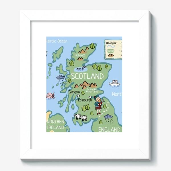Картина «Карта Шотландии. Cartoon map of Scotland.»