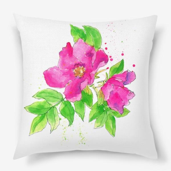 Подушка «Неоновый розовый шиповник»