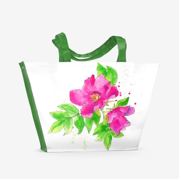Пляжная сумка «Неоновый розовый шиповник»