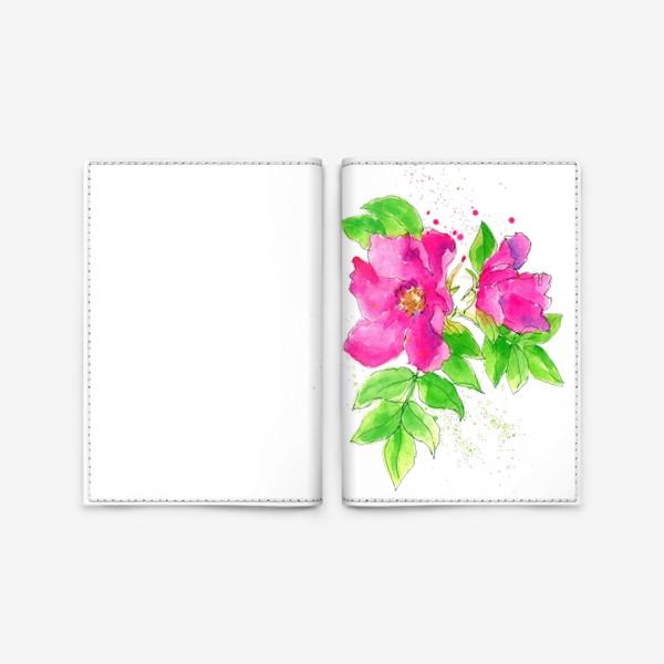 Обложка для паспорта «Неоновый розовый шиповник»