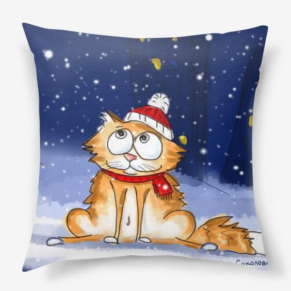 Подушка «Наконец-то снежок. Зимний кот»