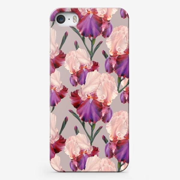 Чехол iPhone «Живописный паттерн с цветами ириса.»