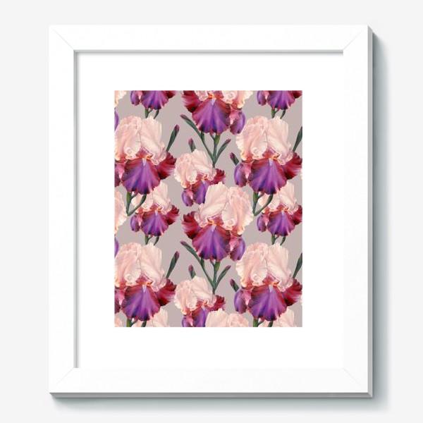 Картина «Живописный паттерн с цветами ириса.»