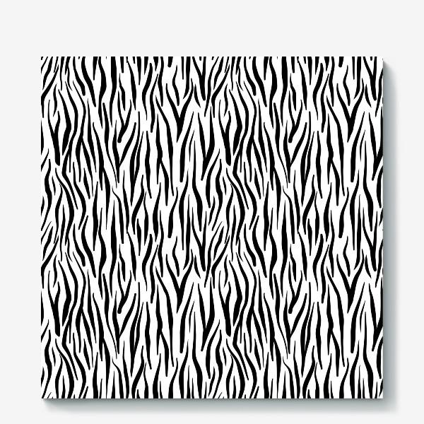 Холст «Принт зебры животный с полосками черно белый »