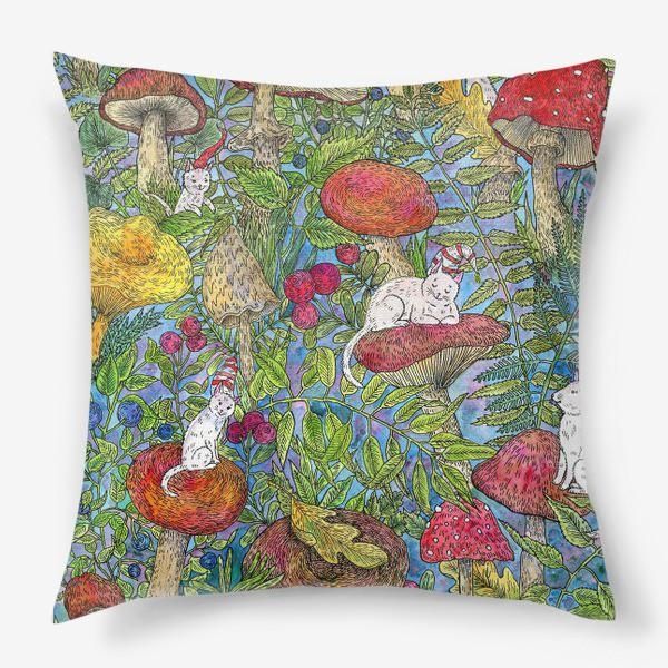 Подушка «Лесная сказка с грибами и котами»