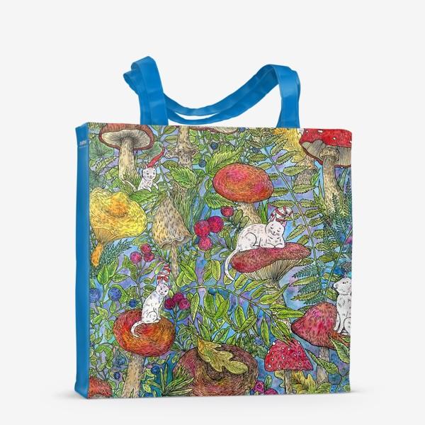 Сумка-шоппер «Лесная сказка с грибами и котами»