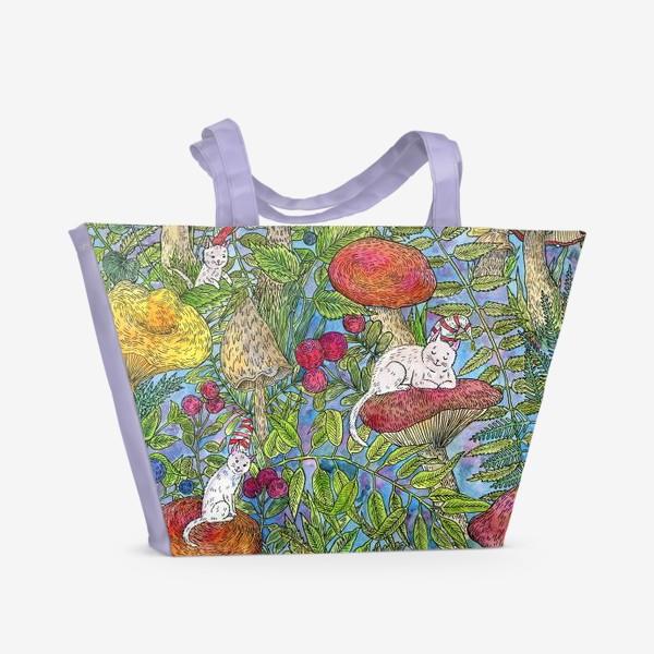 Пляжная сумка «Лесная сказка с грибами и котами»