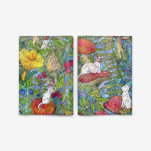 Обложка для паспорта «Лесная сказка с грибами и котами»