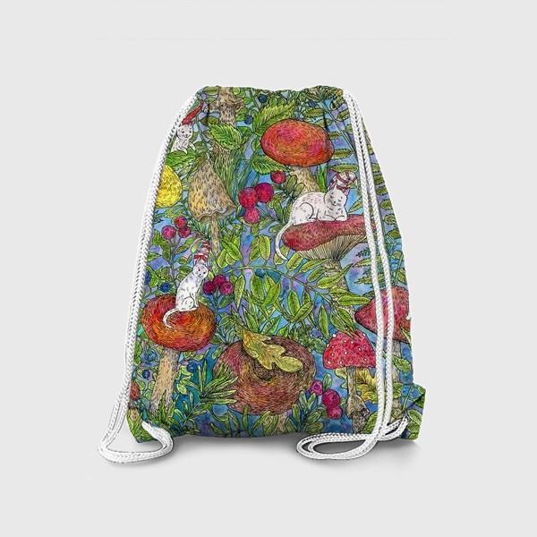 Рюкзак «Лесная сказка с грибами и котами»