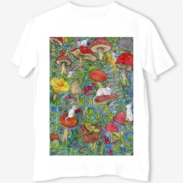 Футболка «Лесная сказка с грибами и котами»