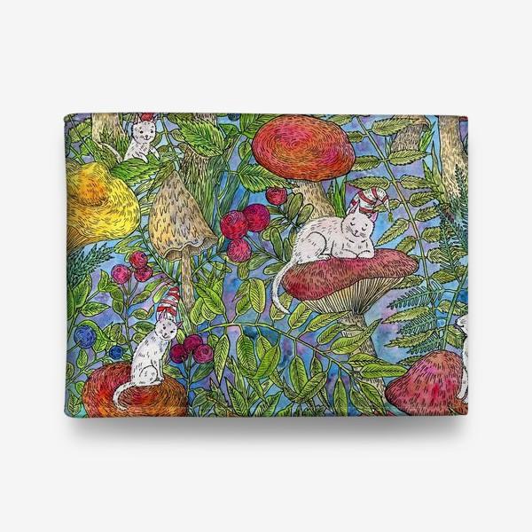 Кошелек «Лесная сказка с грибами и котами»