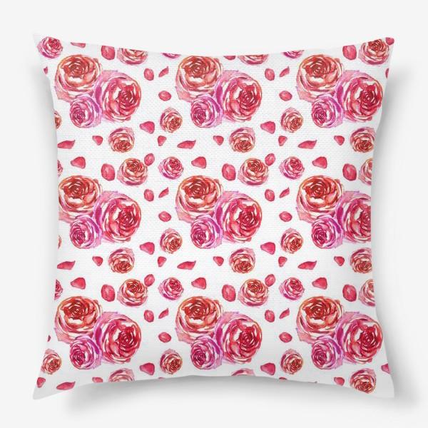 Подушка «Безшовный акварельный паттерн с нежными розами»