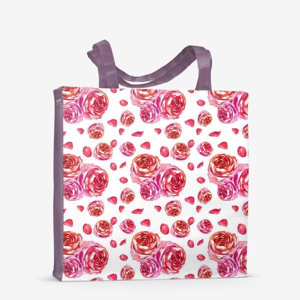 Сумка-шоппер «Безшовный акварельный паттерн с нежными розами»