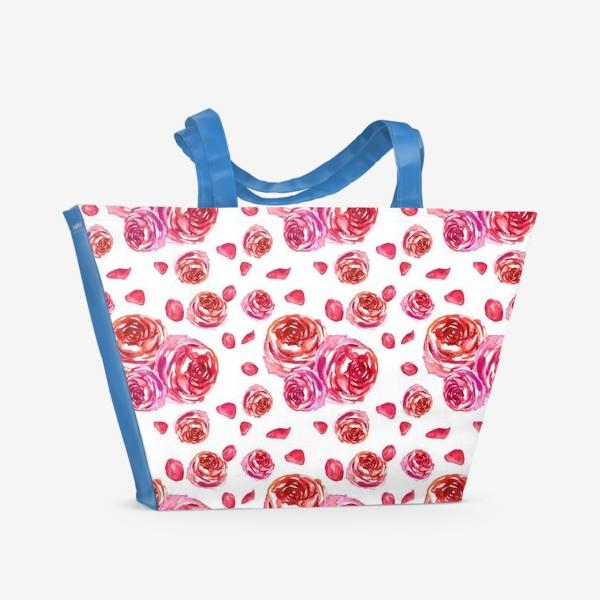 Пляжная сумка «Безшовный акварельный паттерн с нежными розами»