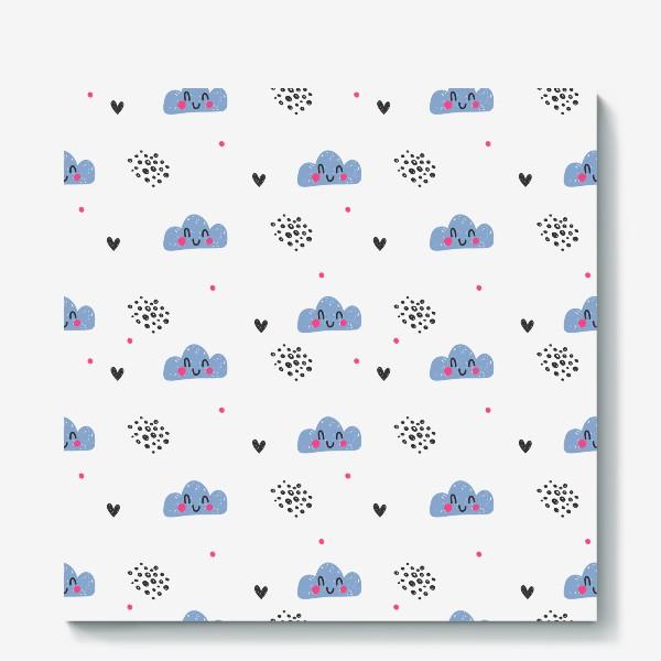 Холст «Милый бесшовный паттерн с улыбающимися облаками»