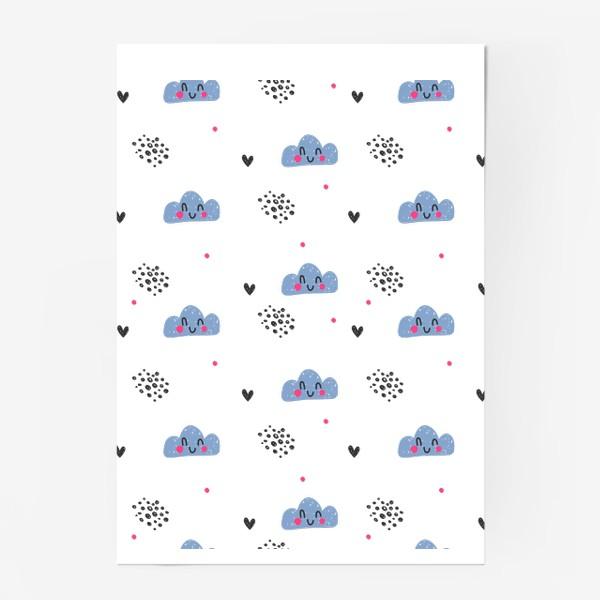 Постер «Милый бесшовный паттерн с улыбающимися облаками»