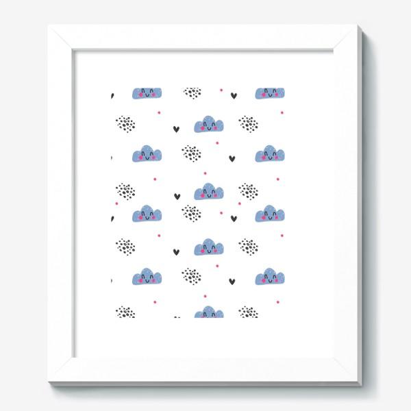 Картина «Милый бесшовный паттерн с улыбающимися облаками»