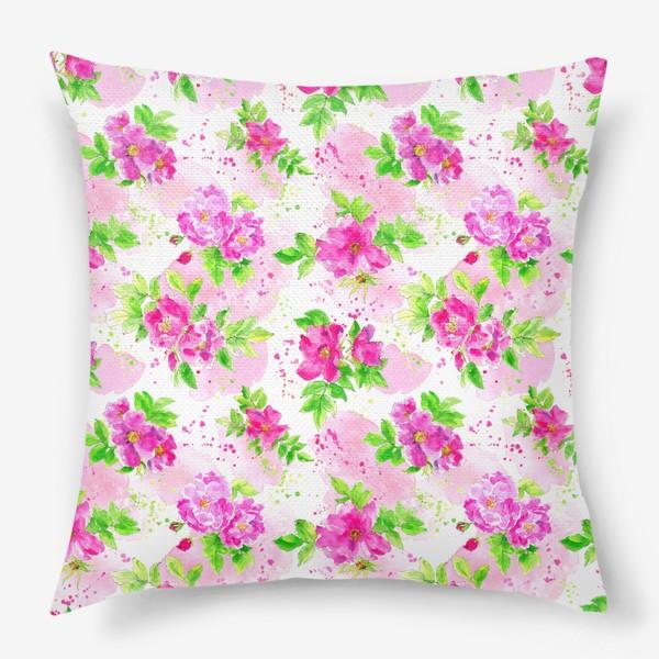 Подушка «Неоновый розовый шиповник на белом фоне»