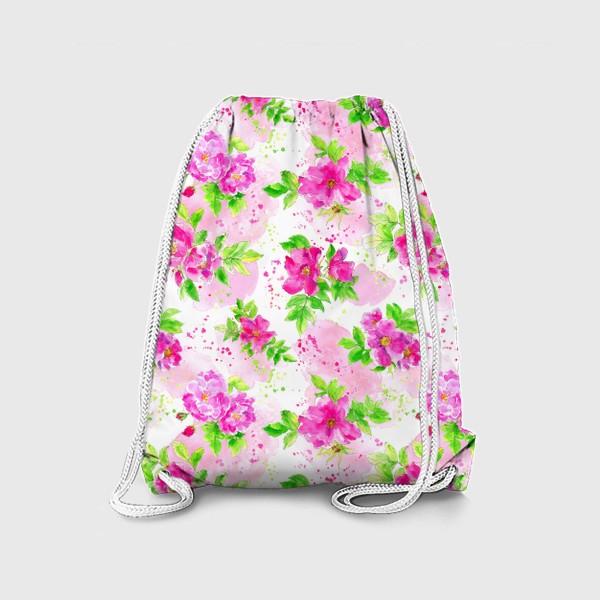 Рюкзак «Неоновый розовый шиповник на белом фоне»