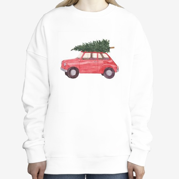Свитшот «Красная машина с новогодней елкой на крыше. Рождественский акварельный принт на белом фоне»