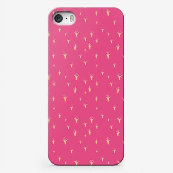 Чехол iPhone «Золотая корона на розовом фоне»