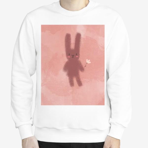 Свитшот «Нежный зайчик с цветком»