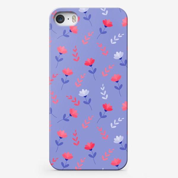 Чехол iPhone «Красные цветочки и листики»