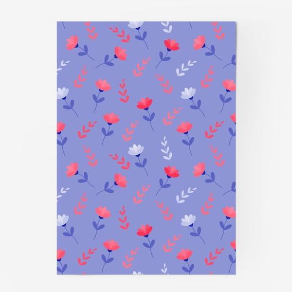 Постер «Красные цветочки и листики»