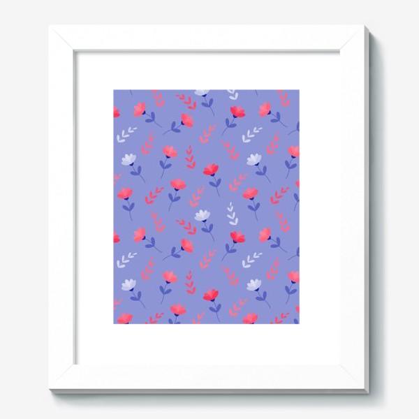 Картина «Красные цветочки и листики»