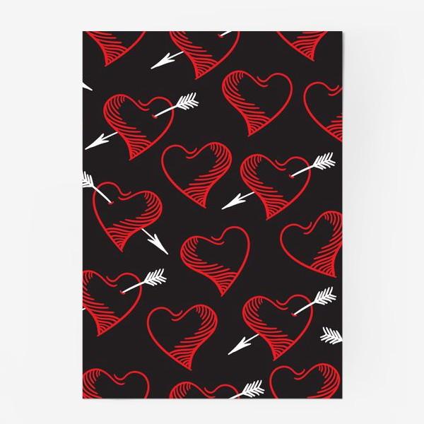 Постер «Бесшовный паттерн с сердечками»