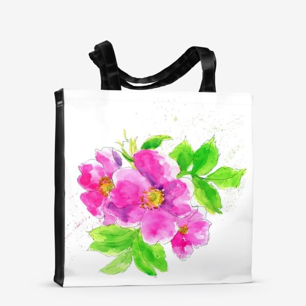 Сумка-шоппер «Неоновый розовый шиповник 2»