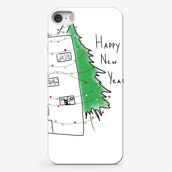 Чехол iPhone «Happy New year! Дом с новогодним настроением »