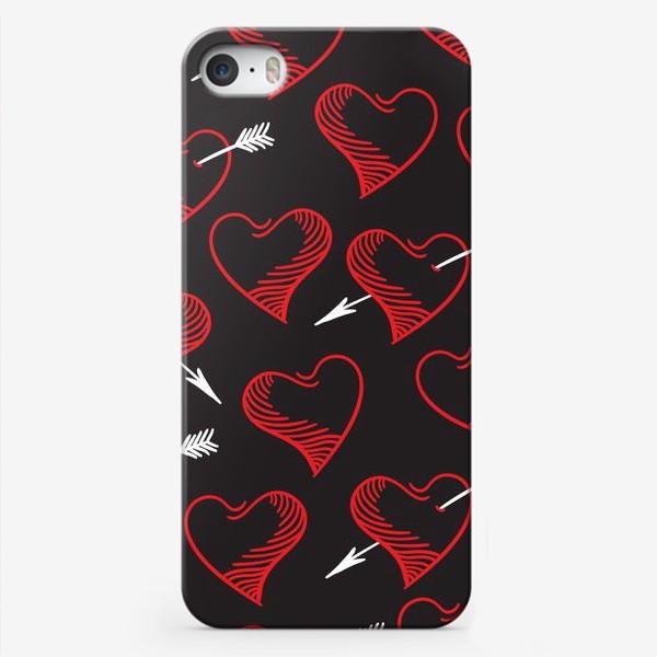 Чехол iPhone «Бесшовный паттерн с сердечками»