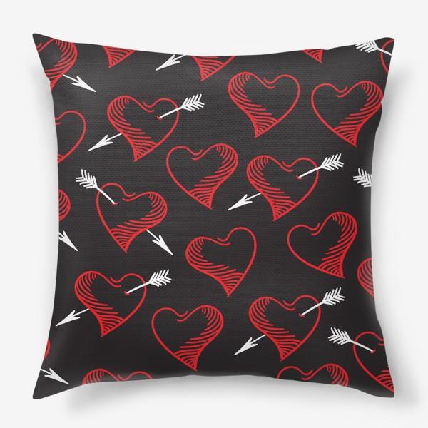 Подушка «Бесшовный паттерн с сердечками»