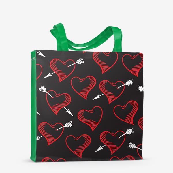 Сумка-шоппер «Бесшовный паттерн с сердечками»