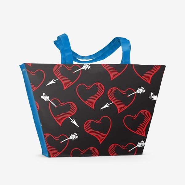Пляжная сумка «Бесшовный паттерн с сердечками»