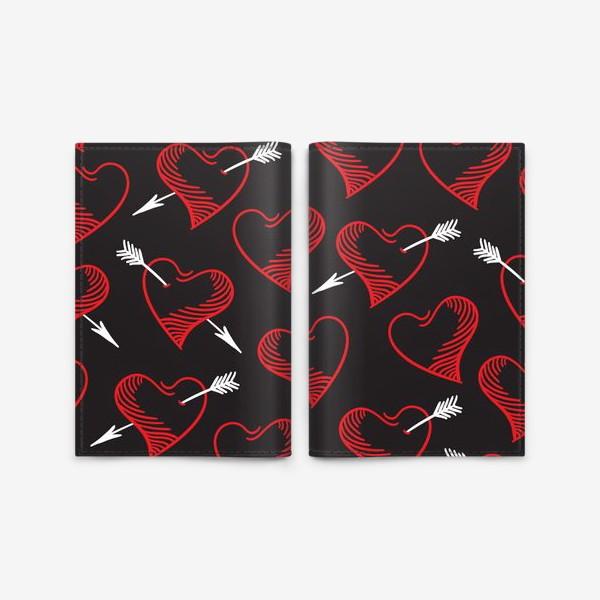 Обложка для паспорта «Бесшовный паттерн с сердечками»