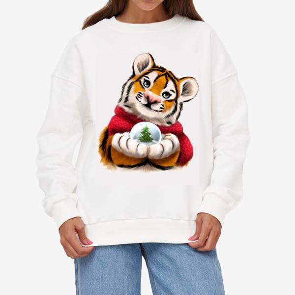 Свитшот «Новогодний тигр в красном шарфе»