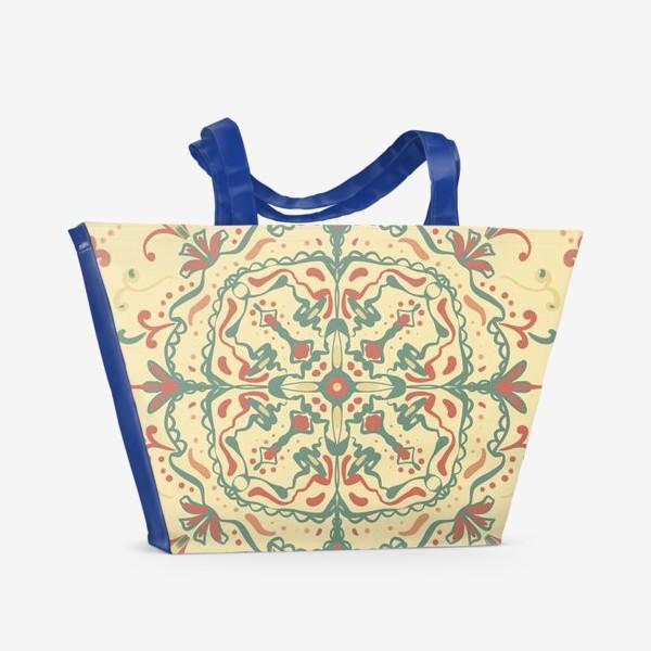 Пляжная сумка «Паттерн.Узоры на желтом фоне »