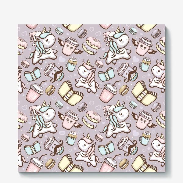 Холст «Sweet Unicorn pattern»